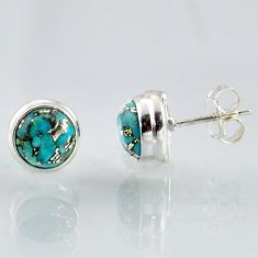 6.61cts blue copper turquoise 925 sterling silver stud earrings jewelry r1035