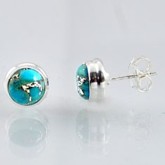 925 sterling silver 6.15cts blue copper turquoise stud earrings jewelry r1039
