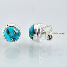6.83cts blue copper turquoise 925 sterling silver stud earrings jewelry r1077