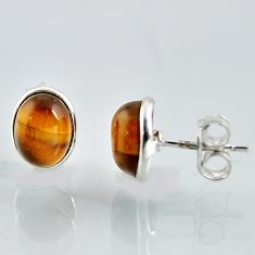 4.97cts natural brown tiger's eye 925 sterling silver stud earrings r1081