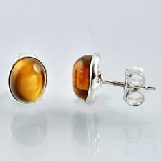 5.43cts natural brown tiger's eye 925 sterling silver stud earrings r1082
