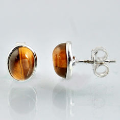 5.48cts natural brown tiger's eye 925 sterling silver stud earrings r1083