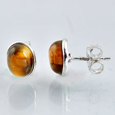 925 sterling silver 4.97cts natural brown tiger's eye stud earrings r1084