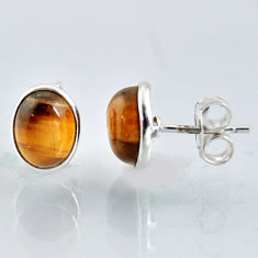 5.46cts natural brown tiger's eye 925 sterling silver stud earrings r1085