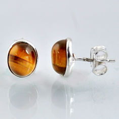 5.46cts natural brown tiger's eye 925 sterling silver stud earrings r1086