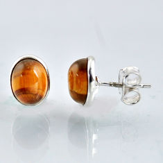 925 sterling silver 5.43cts natural brown tiger's eye stud earrings r1087