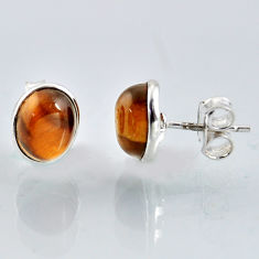 5.35cts natural brown tiger's eye 925 sterling silver stud earrings r1089
