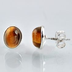 5.79cts natural brown tiger's eye 925 sterling silver stud earrings r1090