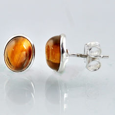 925 sterling silver 5.41cts natural brown tiger's eye stud earrings r1091