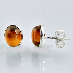5.46cts natural brown tiger's eye 925 sterling silver stud earrings r1092