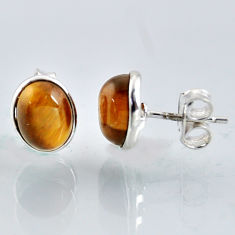5.48cts natural brown tiger's eye 925 sterling silver stud earrings r1093