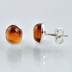 5.83cts natural brown tiger's eye 925 sterling silver stud earrings r1094