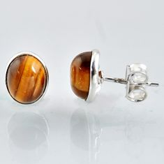 4.99cts natural brown tiger's eye 925 sterling silver stud earrings r1097