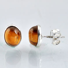 925 sterling silver 5.46cts natural brown tiger's eye stud earrings r1098