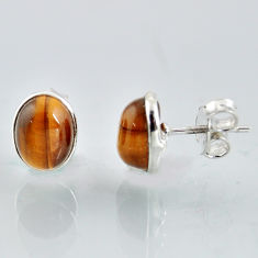 5.48cts natural brown tiger's eye 925 sterling silver stud earrings r1100
