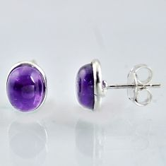 925 sterling silver 6.19cts natural purple amethyst stud earrings jewelry r1115