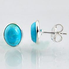 4.87cts natural blue kingman turquoise 925 sterling silver stud earrings r1129