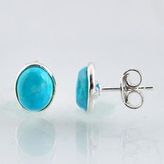 4.73cts natural blue kingman turquoise 925 sterling silver stud earrings r1138