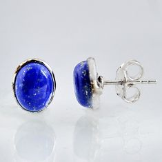 5.65cts natural blue lapis lazuli 925 sterling silver stud earrings r1142