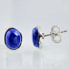 925 sterling silver 5.55cts natural blue lapis lazuli stud earrings r1144