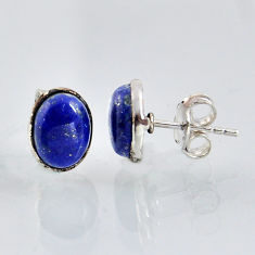 5.58cts natural blue lapis lazuli 925 sterling silver stud earrings r1146