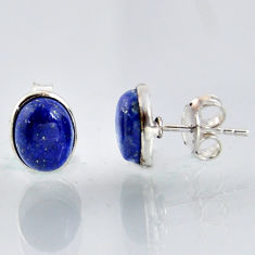 4.75cts natural blue lapis lazuli 925 sterling silver stud earrings r1149