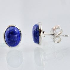 5.35cts natural blue lapis lazuli 925 sterling silver stud earrings r1151