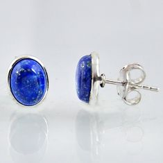 925 sterling silver 5.54cts natural blue lapis lazuli stud earrings r1157