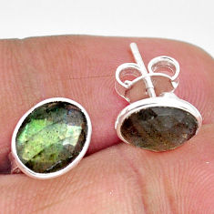 925 sterling silver 5.53cts natural blue labradorite stud earrings jewelry r1164