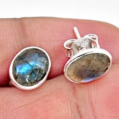 5.72cts natural blue labradorite 925 sterling silver stud earrings jewelry r1165
