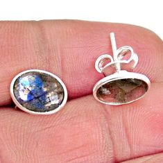 5.53cts natural blue labradorite 925 sterling silver stud earrings jewelry r1170