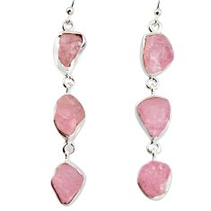 23.15cts natural pink morganite rough 925 sterling silver dangle earrings r1482