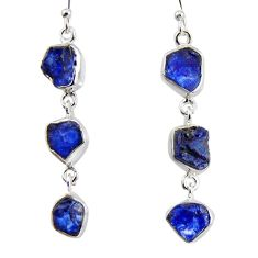 19.00cts natural blue sapphire rough 925 sterling silver dangle earrings r1514