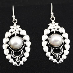 6.20cts natural white pearl 925 sterling silver dangle earrings jewelry r1826