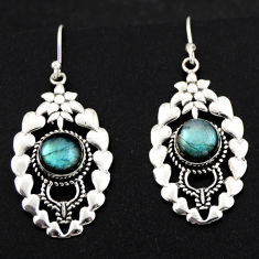6.32cts natural blue labradorite 925 sterling silver dangle earrings r1832