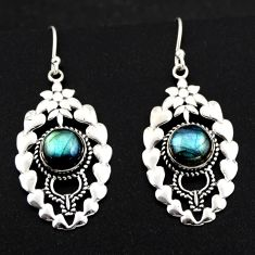 925 sterling silver 6.55cts natural blue labradorite dangle earrings r1833