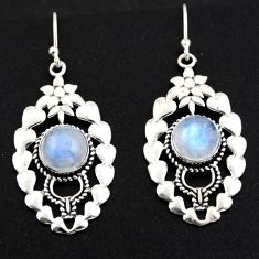 925 sterling silver 6.55cts natural rainbow moonstone dangle earrings r1836