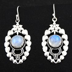 925 sterling silver 6.88cts natural rainbow moonstone dangle earrings r1839