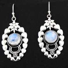 6.31cts natural rainbow moonstone 925 sterling silver dangle earrings r1840