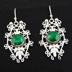 6.16cts natural green emerald 925 sterling silver dangle earrings jewelry r1845