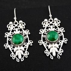 6.16cts natural green emerald 925 sterling silver dangle earrings jewelry r1847