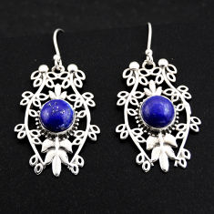 6.36cts natural blue lapis lazuli 925 sterling silver dangle earrings r1849