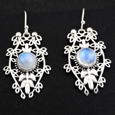 925 sterling silver 6.55cts natural rainbow moonstone dangle earrings r1852