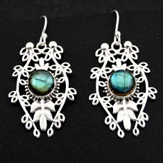 925 sterling silver 6.55cts natural blue labradorite dangle earrings r1856