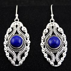 6.32cts natural blue lapis lazuli 925 sterling silver dangle earrings r1870