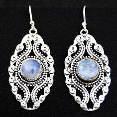 6.50cts natural rainbow moonstone 925 sterling silver dangle earrings r1873