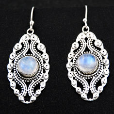 6.10cts natural rainbow moonstone 925 sterling silver dangle earrings r1875