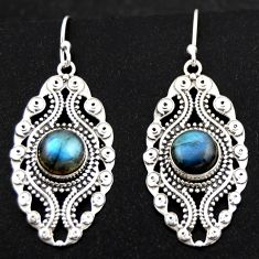 6.34cts natural blue labradorite 925 sterling silver dangle earrings r1877