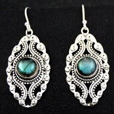 6.36cts natural blue labradorite 925 sterling silver dangle earrings r1878