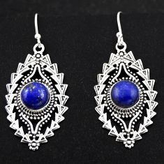 6.60cts natural blue lapis lazuli 925 sterling silver dangle earrings r1890